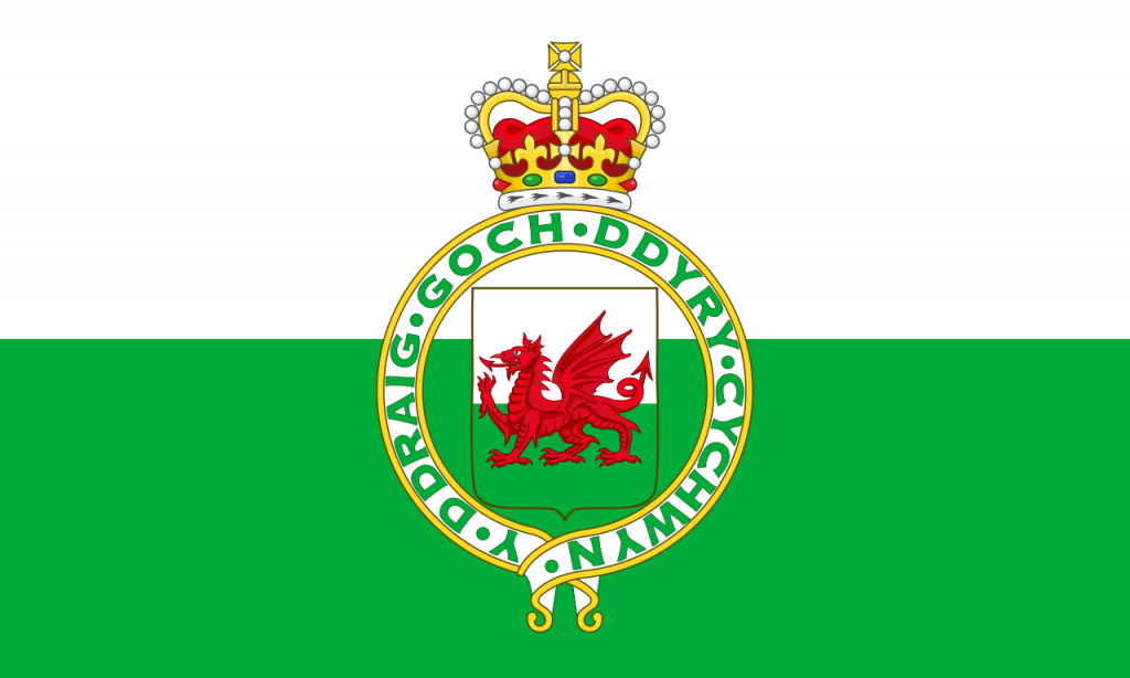 The version of the Welsh Flag featuring the Royal Badge of Wales; this was the official Flag of Wales from 1953-59 until it was dropped following a popular outcry.